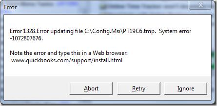 QuickBooks Update Error 1328 pop up