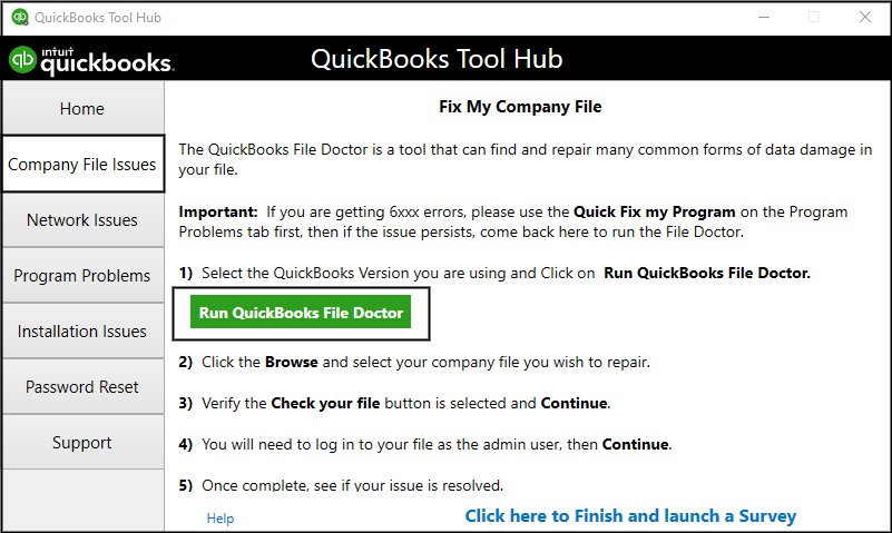 Using the QuickBooks File Doctor Tool