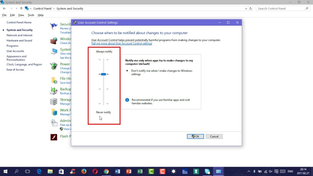 Disable The Windows User Account Control