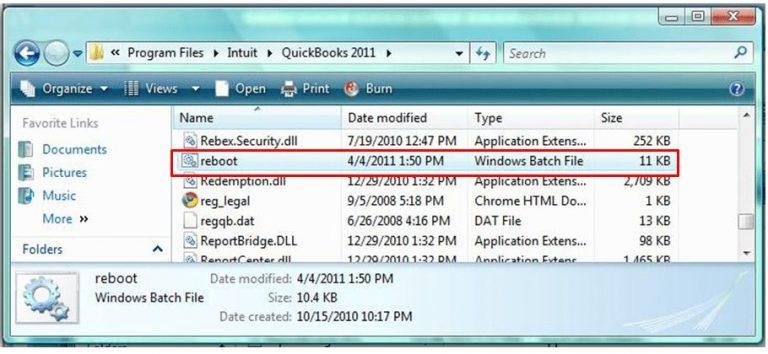 Using Reboot.bat File
