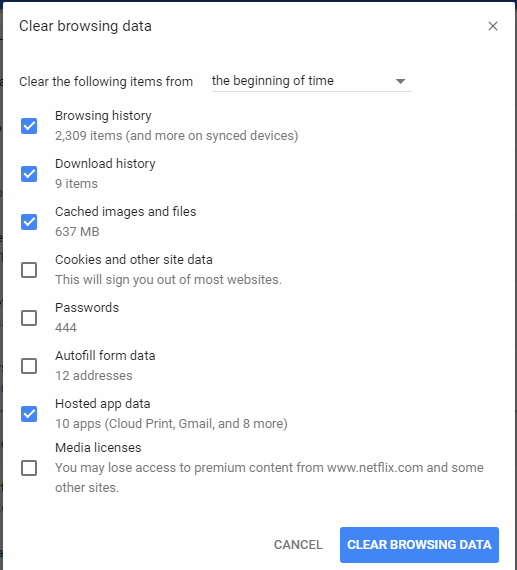 Cleaning Cache Files of the Browser in Google Chrome