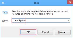 Control Panel in the Run window