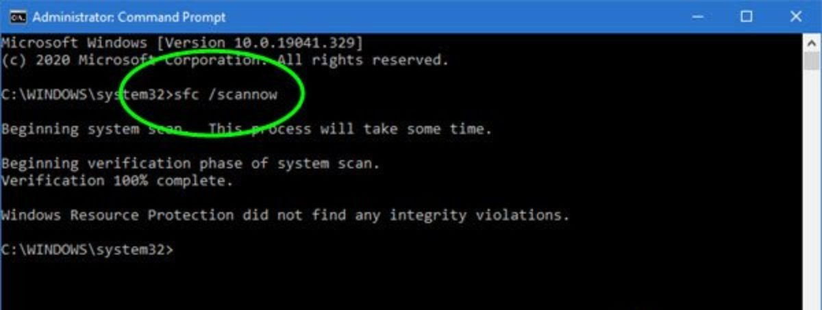Using System File Checker Scan