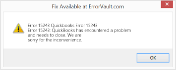 QuickBooks Update Error 15243 Error Message