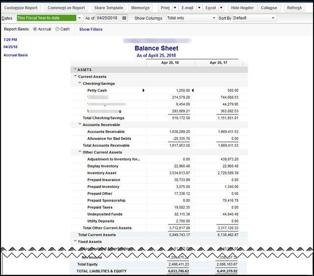 Not Correct QuickBooks Desktop Balance Sheet