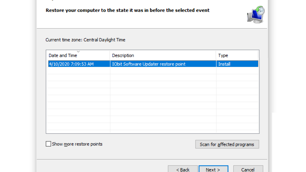 Reverse Recent System Settings for Restoring Windows