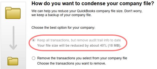Condense the QuickBooks Files