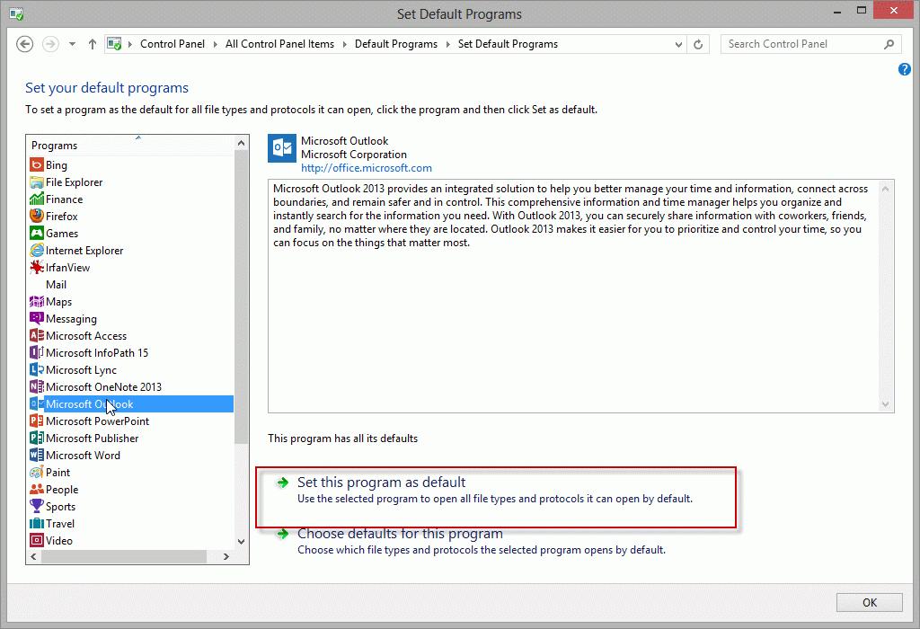 Set Outlook as a Default Mail Application
