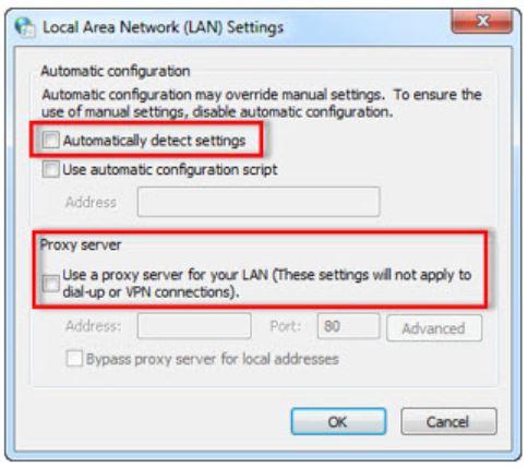Check Internet Explorer Settings