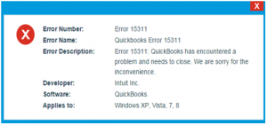 Quickbooks error 15311 error message